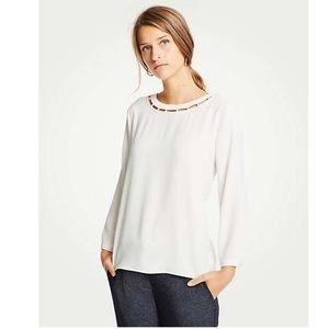 NWT Ann Taylor Pearlized Inset Blouse White S